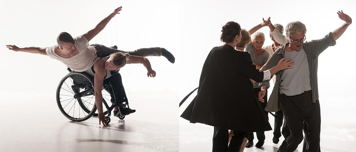 Dansare ur våra olika Dialog-projekt, t ex dans och funktionsvariation och dans och den äldre kroppen, foto: Chris Nash