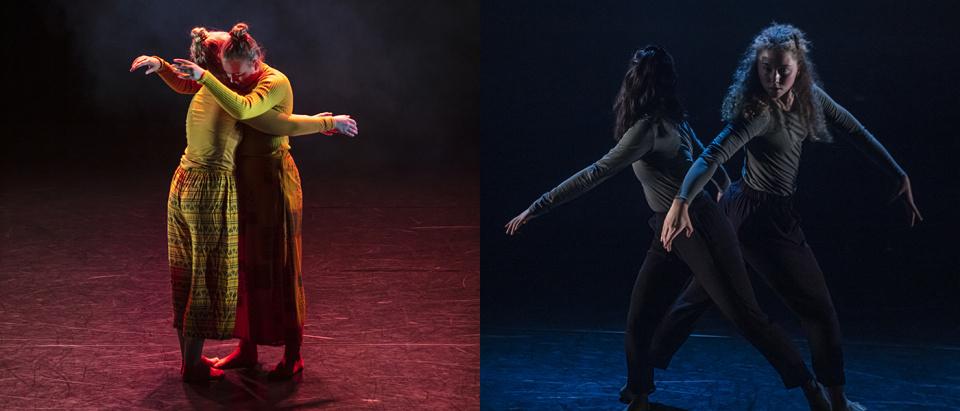 Foton på unga dansare ur två tävlingsbidrag i koreografitävlingen Skapa Dans 2019