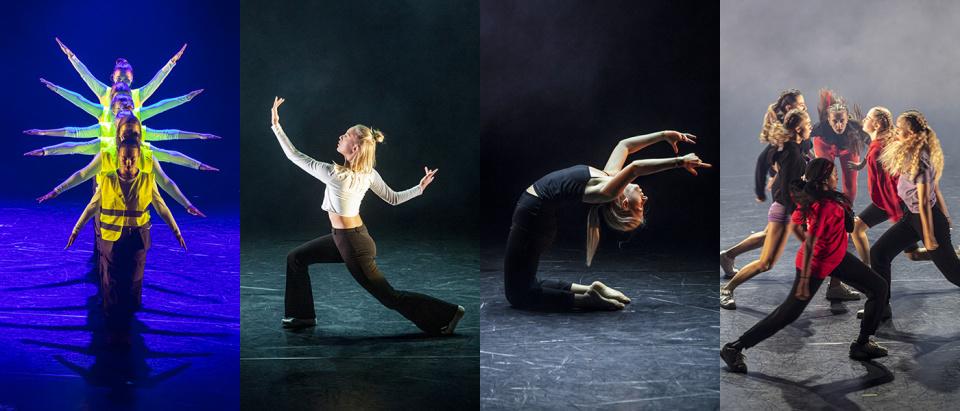 Foton på unga dansare ur fyra tävlingsbidrag i koreografitävlingen Skapa Dans 2019