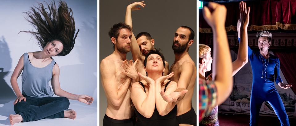 Bilder från Nicola Gunns, Silvia Gribaudis och Sindri Runuddes gästspel under Skånes Dansteaters Laugh Out Loud Dance Festival