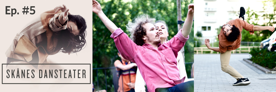 Dance Pod with Skånes Dansteater episode 5 collage. Dancers: Jing Yi Wang (photo: Carl Thorborg), Ischa Statie, Line Branchereau, Jon Ipina Aparicio (photo: Nelson Rodriguez Smith, choreography: Kit Brown)
