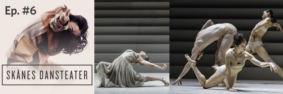 Collage för Dance Pod with Skånes Dansteater avsnitt 6. Dansare: Jing Yi Wang (foto: Carl Thorborg), Emma Välimäki, Kristian Refslund, Pili Abaurrea Zardoya, Jing Yi Wang (foto: Mats Bäcker).