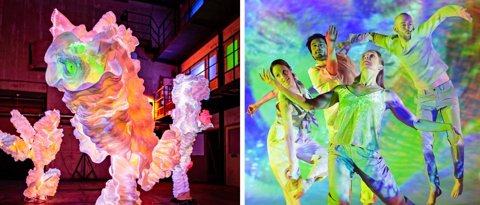 Första bildden visar installationen Water av Malin Bobeck Tadaa som består av tre y-formade lysande skulpturer i vitt böljande material som skimrar i rosa, gult och grönt. I andra bilden ser man fyra dansare i vita kläder belysta i rött, grönt, blått ljus