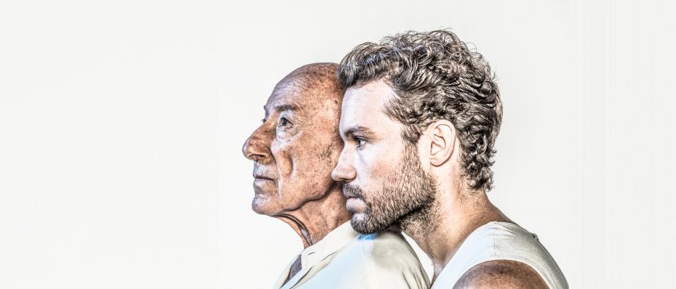 Skånes Dansteaters dansare Matthew Branham och gästdansare Rpolf Hepp i posterbilden för SKånes Dansteaters föreställning Mozarts Requiem