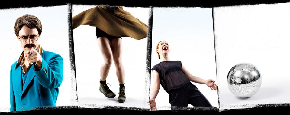 Posterbild för Skånes Dansteaters dansföreställning PLAYGROUND, dansare: Peter Jansson, Matthew Walsh Bade, Sarah Bellugi Klima.