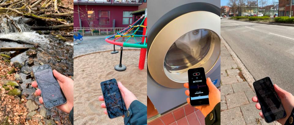 En hand håller en mobiltelefon som spelar in ljud från fyra olika miljöer: en bäck i naturen, en lekplats på en förskola, en torktumlare och en bilgata i en stad.